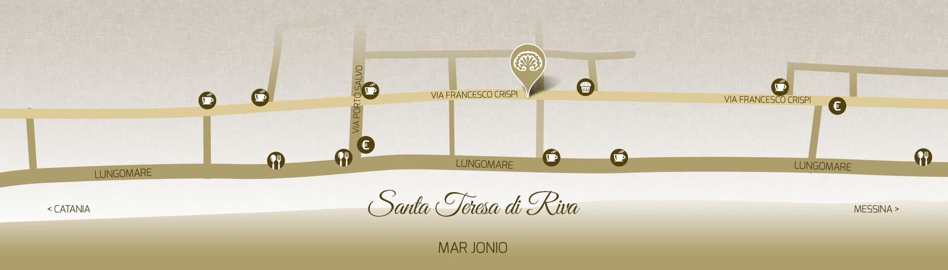 Mappa Villa Teresa B&B Santa Teresa di Riva BANDIERA BLU 2017